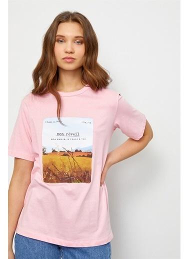 Setre Siyah Baskılı Kısa Kol T-Shirt Pembe